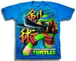 TMNT LEONARDO SWORD WAY PX NAVY T/S MED