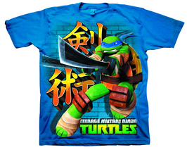 TMNT LEONARDO SWORD WAY PX NAVY T/S LG