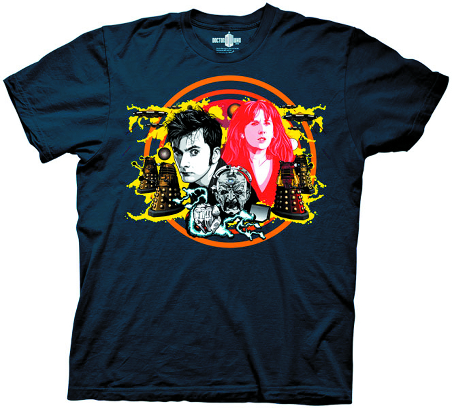 DW 10TH DOCTOR DAVROS NAVY T/S XL