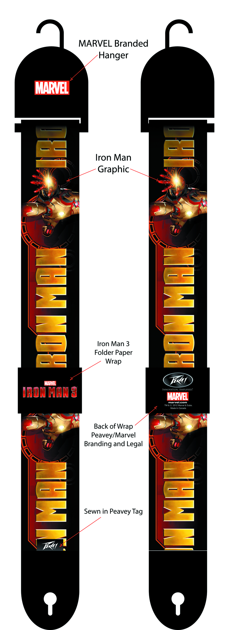 IRON MAN 3 IRON MAN GRAPHIC POLY GUITAR STRAP