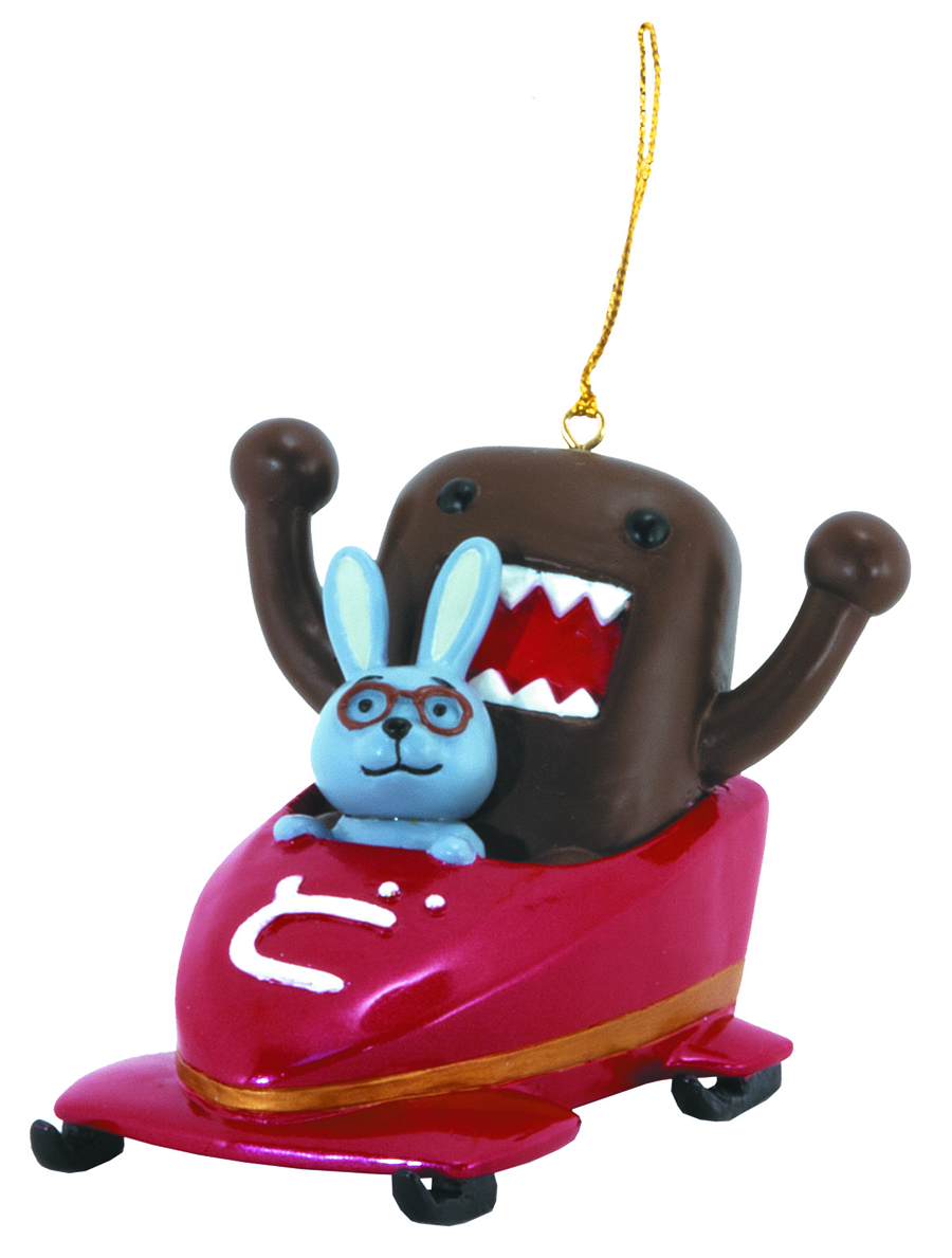 DOMO & FRIENDS IN BOBSLED ORNAMENT