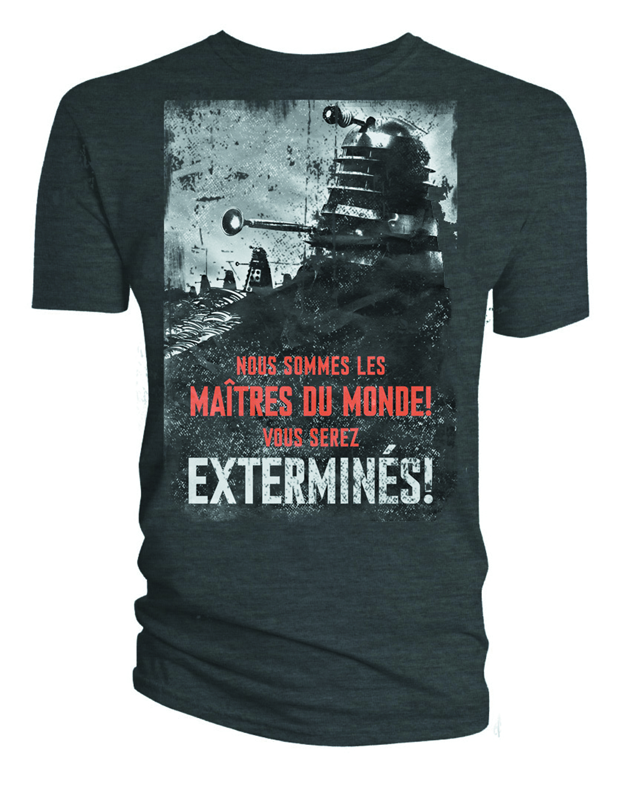DOCTOR WHO DALEK EXTERMINES PX CHARCOAL T/S XXL
