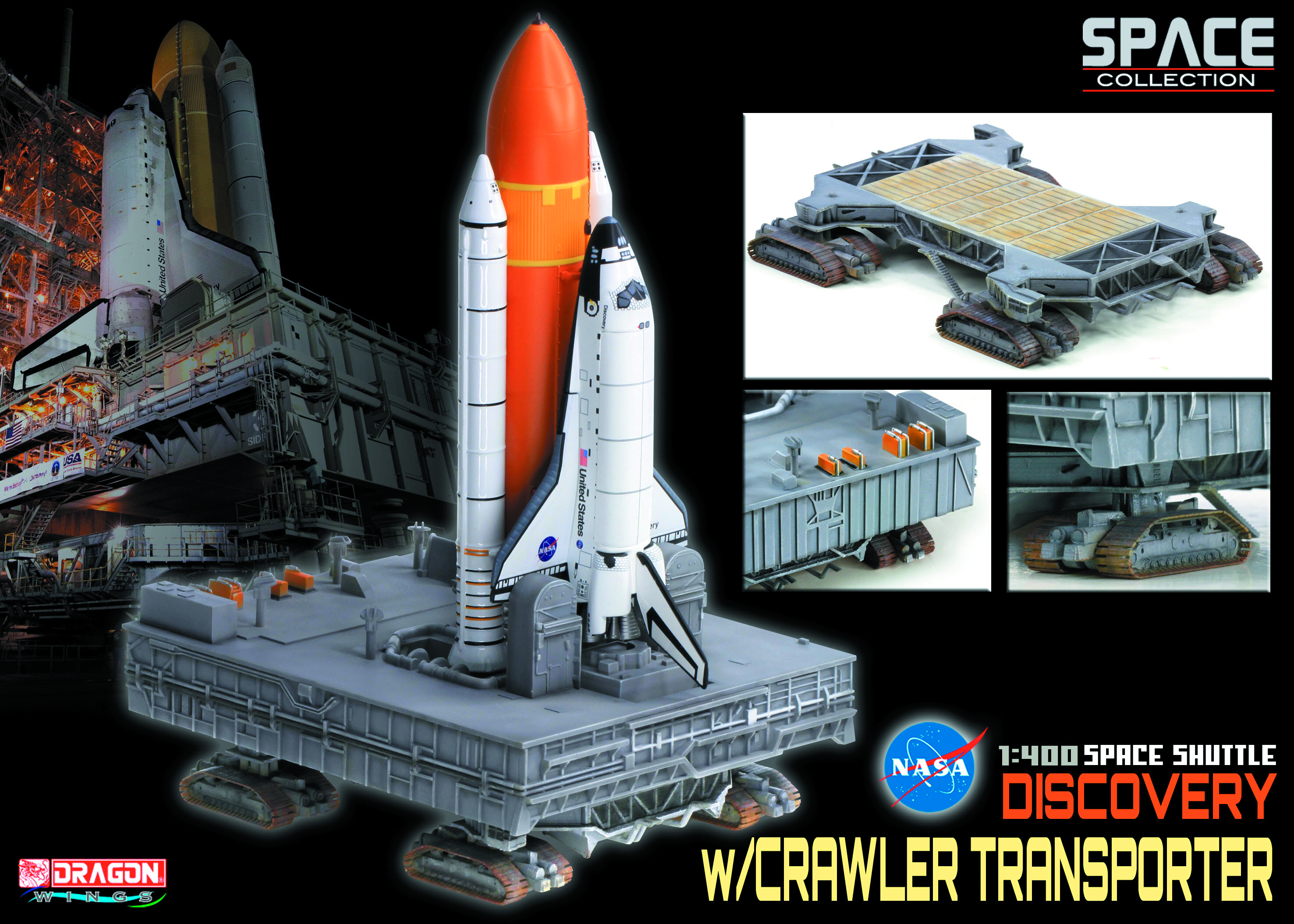 NASA SPACE SHUTTLE DISCOVERY W/CRAWLER 1/400 SCL MDL
