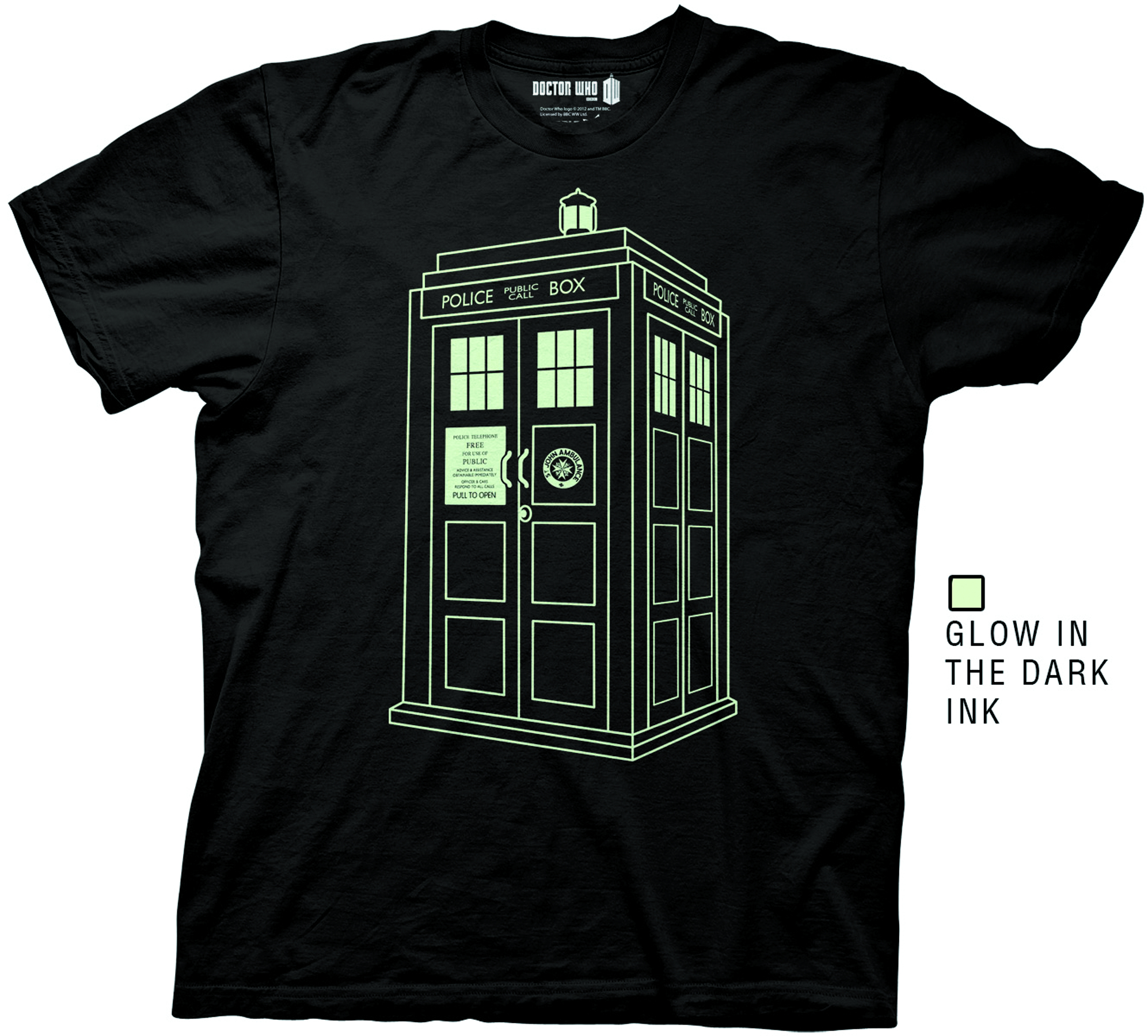 DW TARDIS OUTLINE GLOW IN THE DARK PX T/S LG