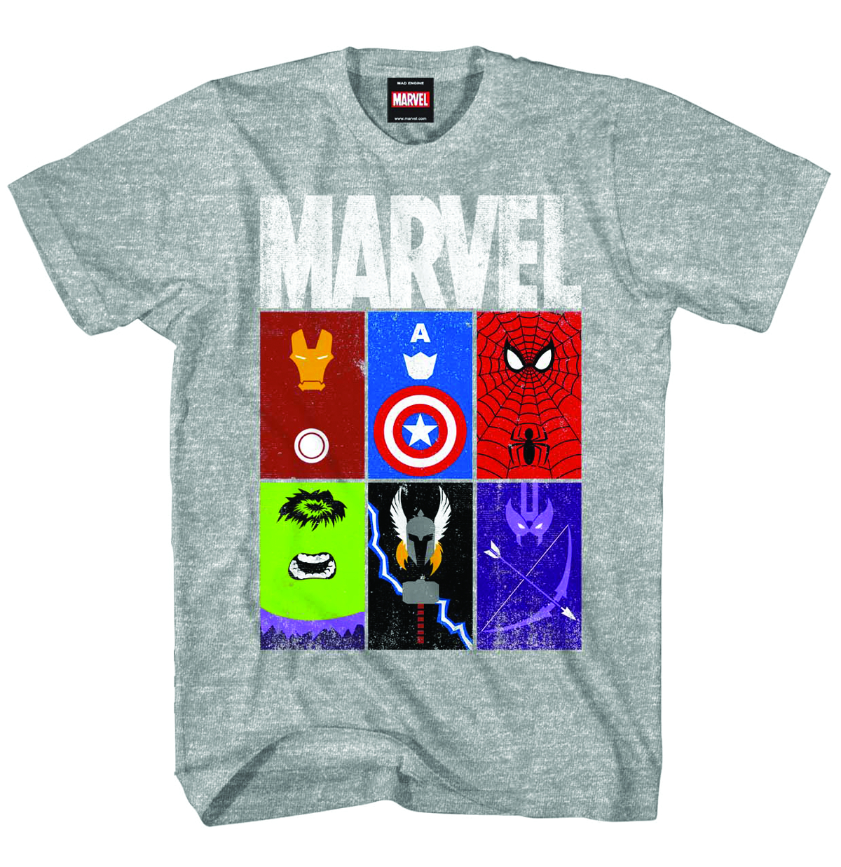 MARVEL HEROES MARVELBLOCKS HEATHER T/S MED