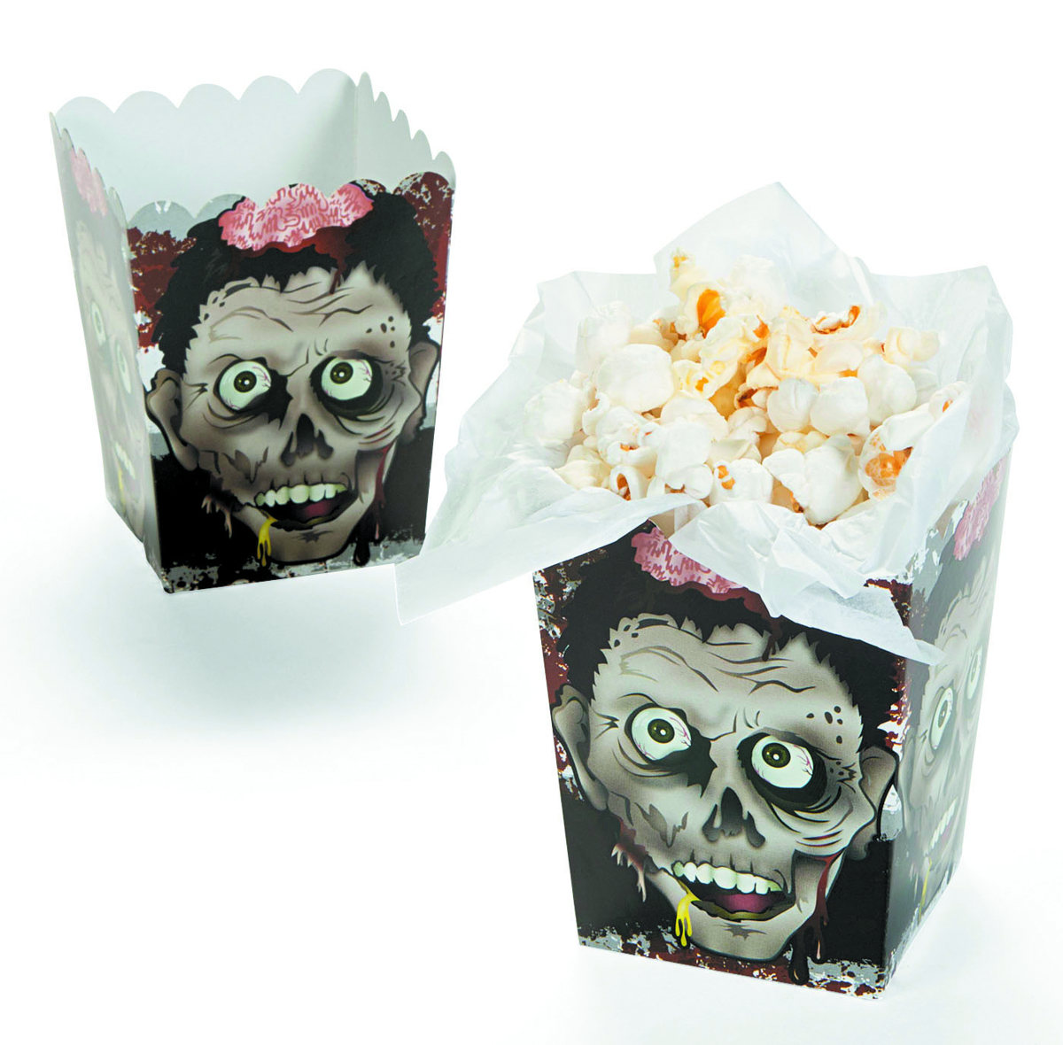 ZOMBIE PARTY PAPER MINI ZOMBIE HEAD POPCORN BOXES 1DZ