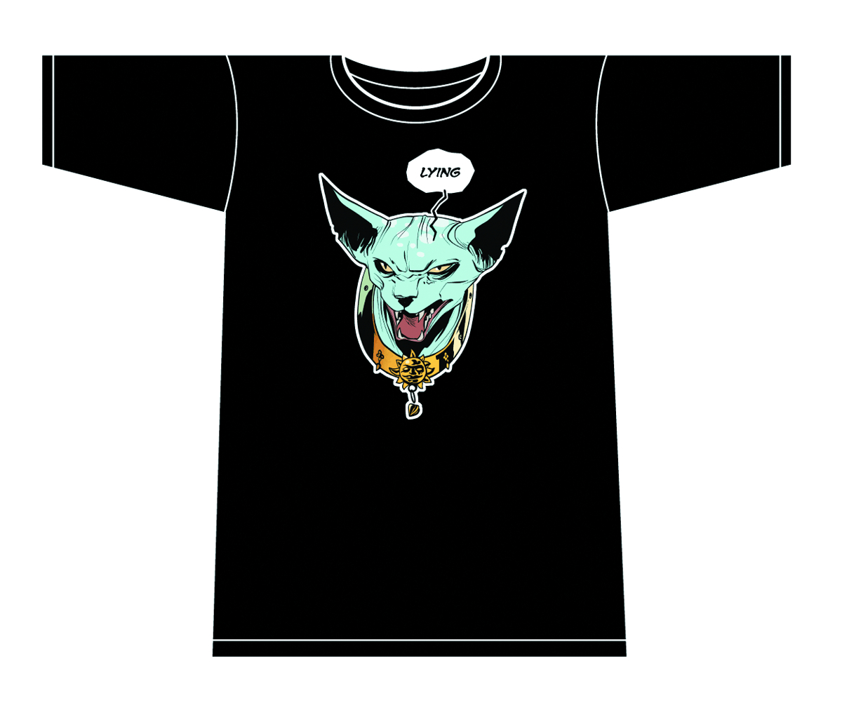 SAGA LYING CAT T/S BLACK MENS LG