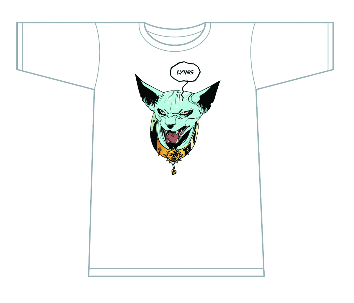 SAGA LYING CAT T/S WHITE MENS MED