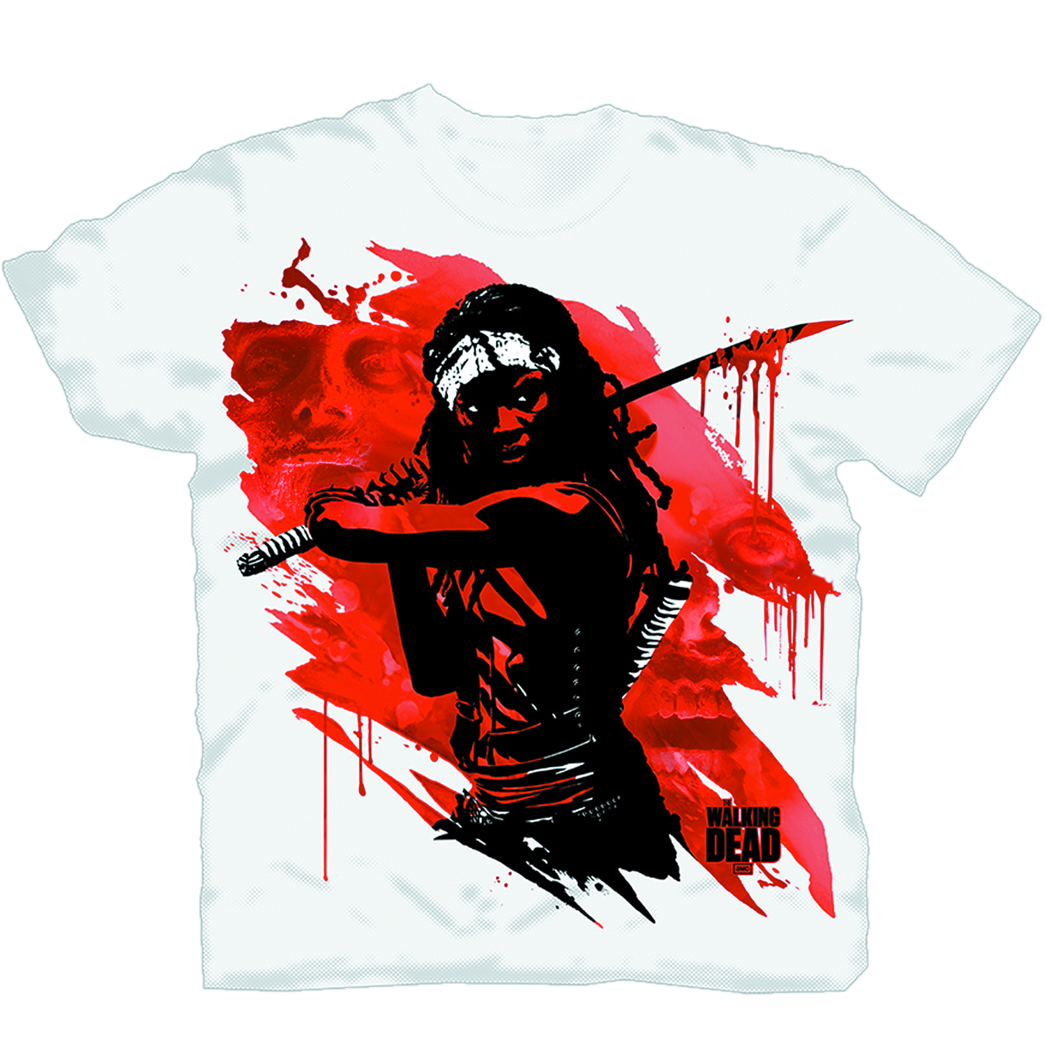 WALKING DEAD MICHONNE BLOOD SLASH T/S LG