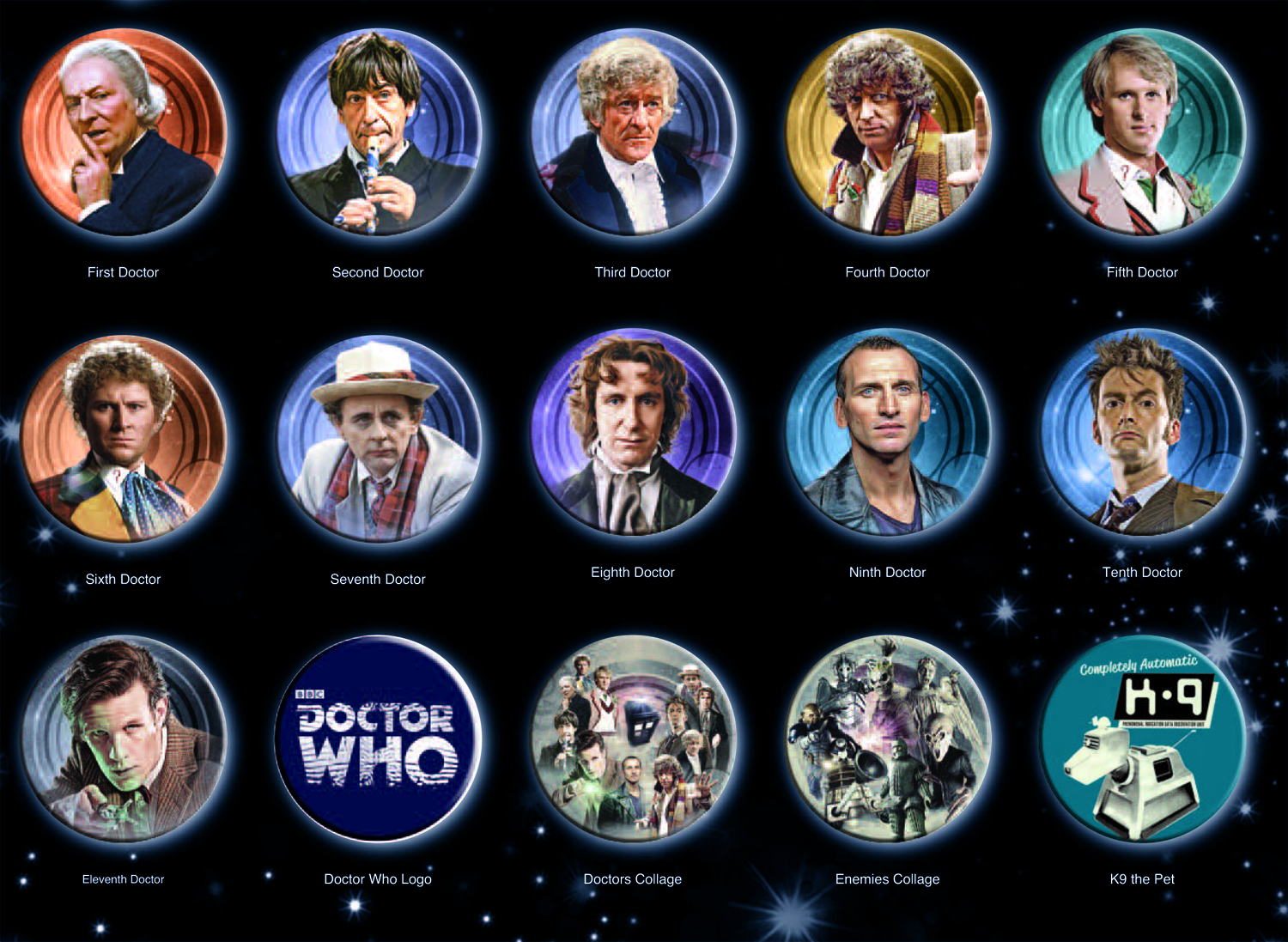 DOCTOR WHO DOCTORS 120 PC BUTTON MAGNET ASST