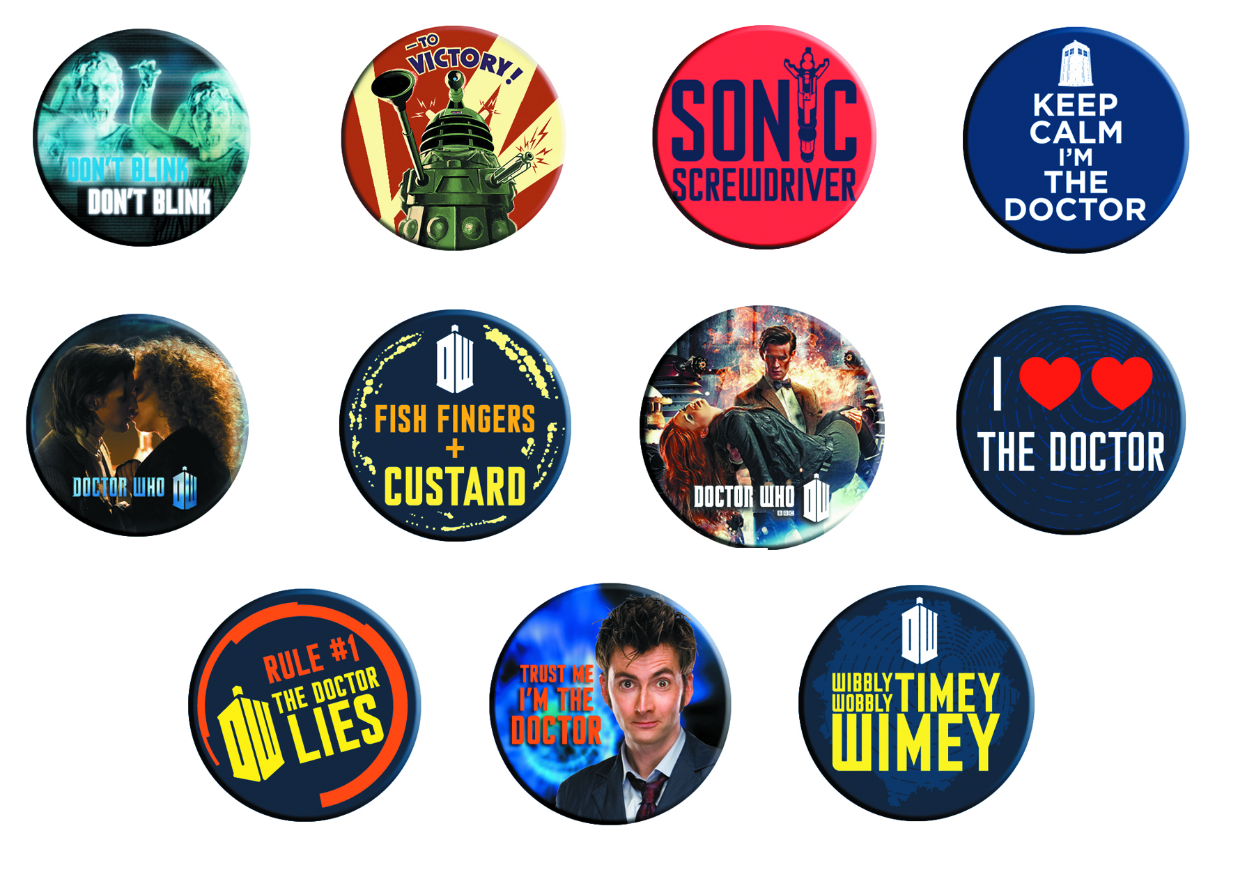 DOCTOR WHO SAYINGS 120 PC BUTTON MAGNET ASST
