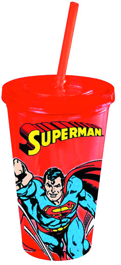 SUPERMAN FLYING 16OZ COLD CUP W/LID & STRAW