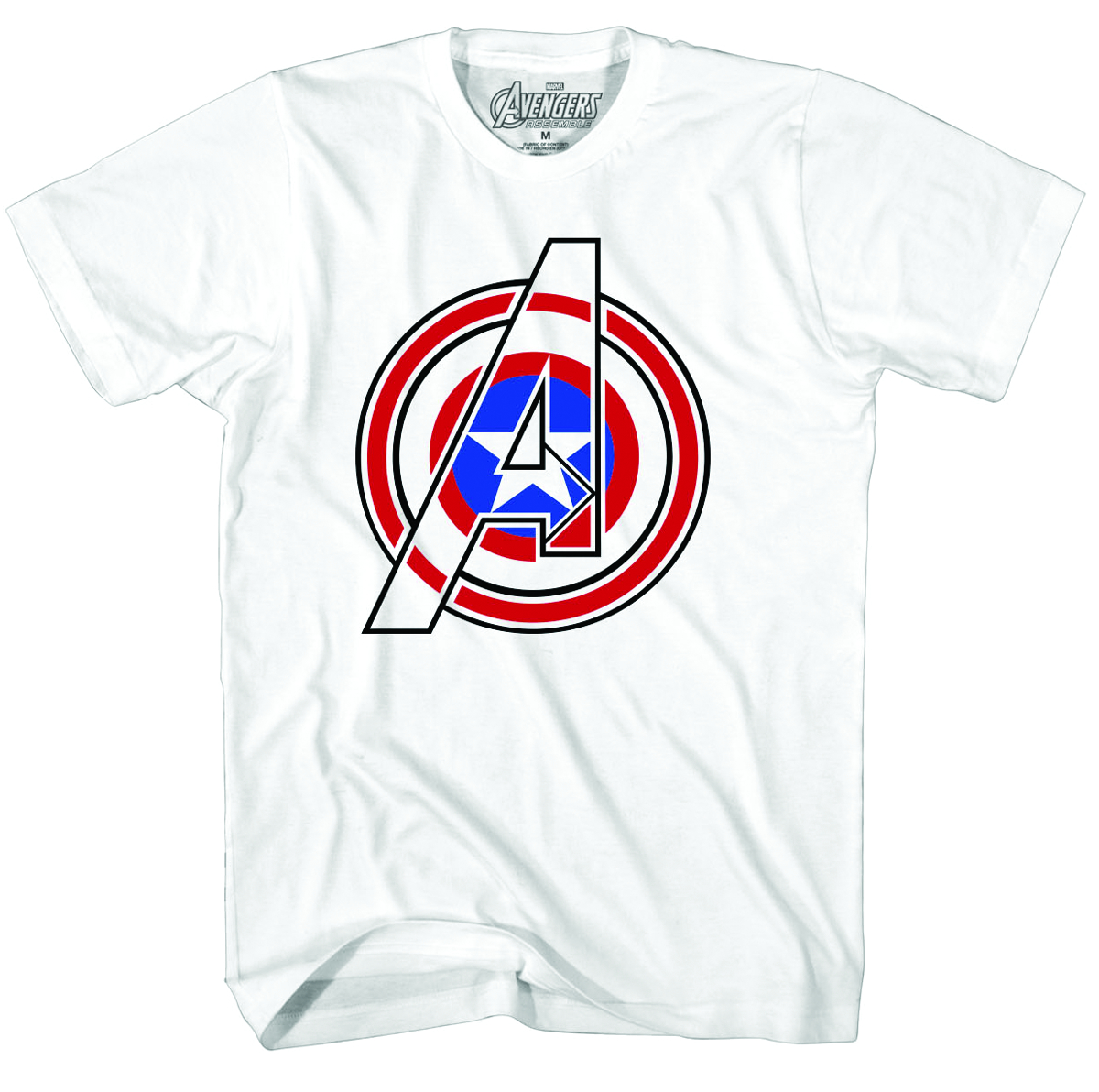 CAPTAIN AMERICA COMBINED ICONS PX WHT T/S LG