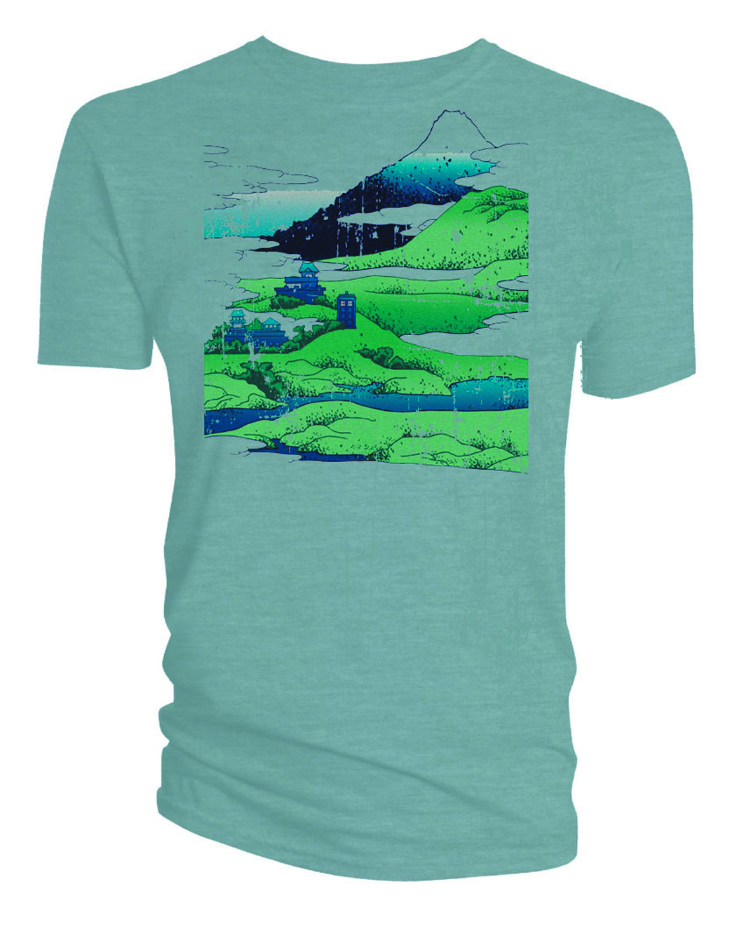 DW TARDIS MOUNTAINS PX BLUE T/S MED