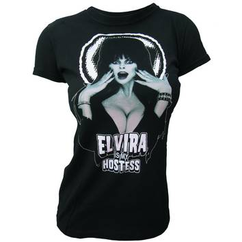 ELVIRA IS MY HOSTESS BLK JRS T/S LG