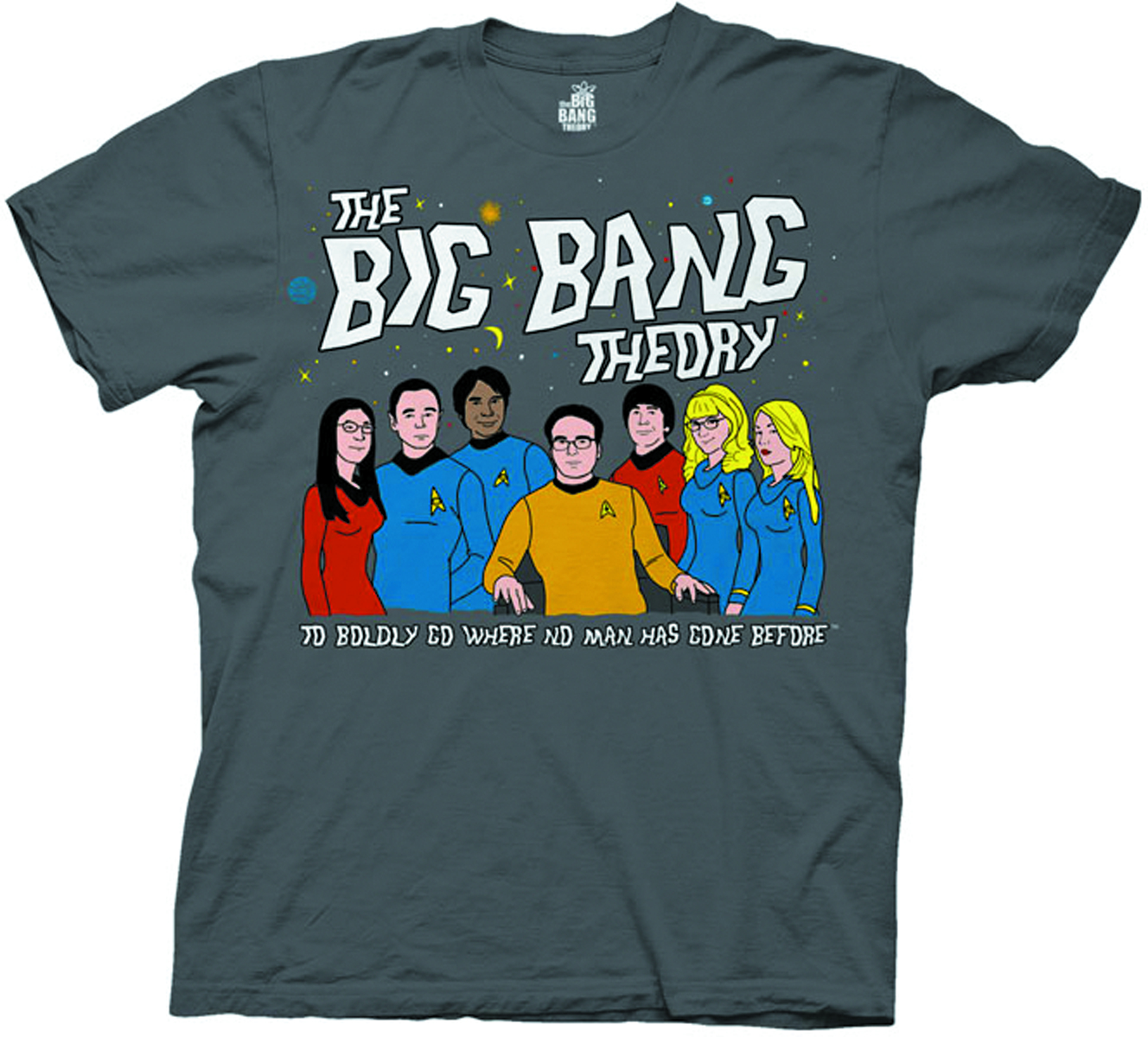 BIG BANG STAR TREK BOLDLY GO BLK T/S LG