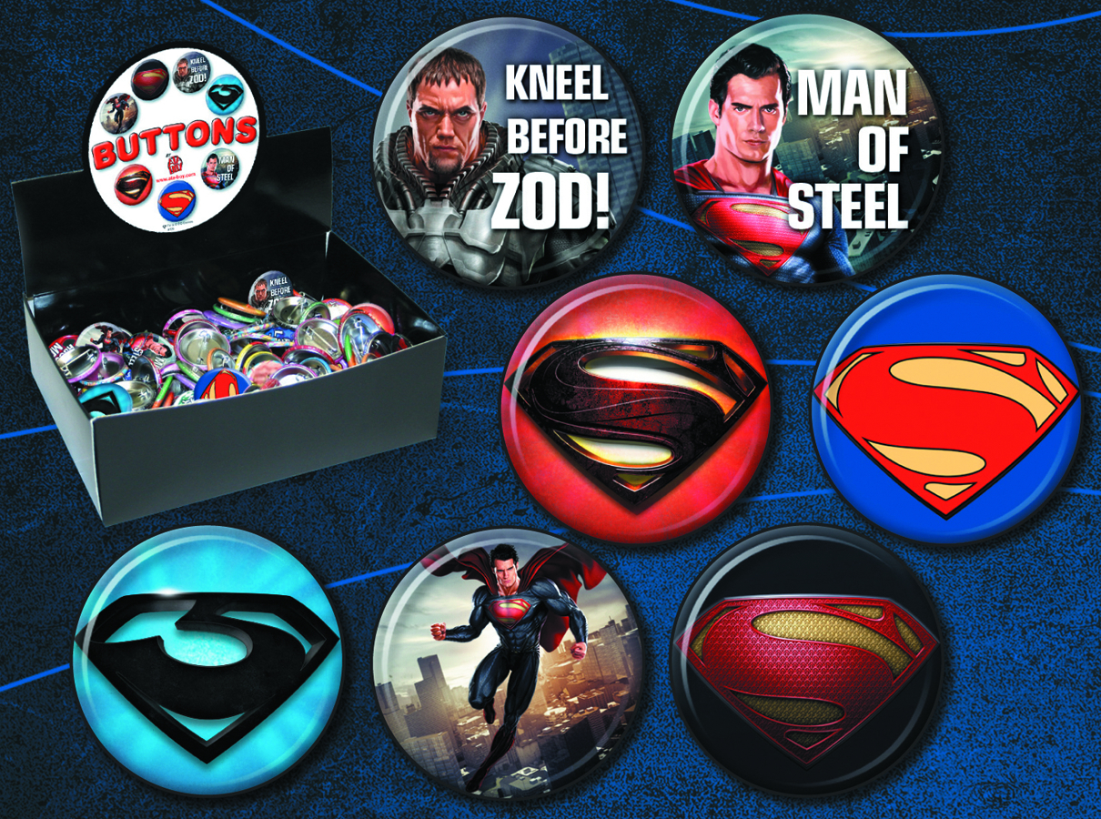 MAN OF STEEL MOVIE 144PC BUTTON ASST
