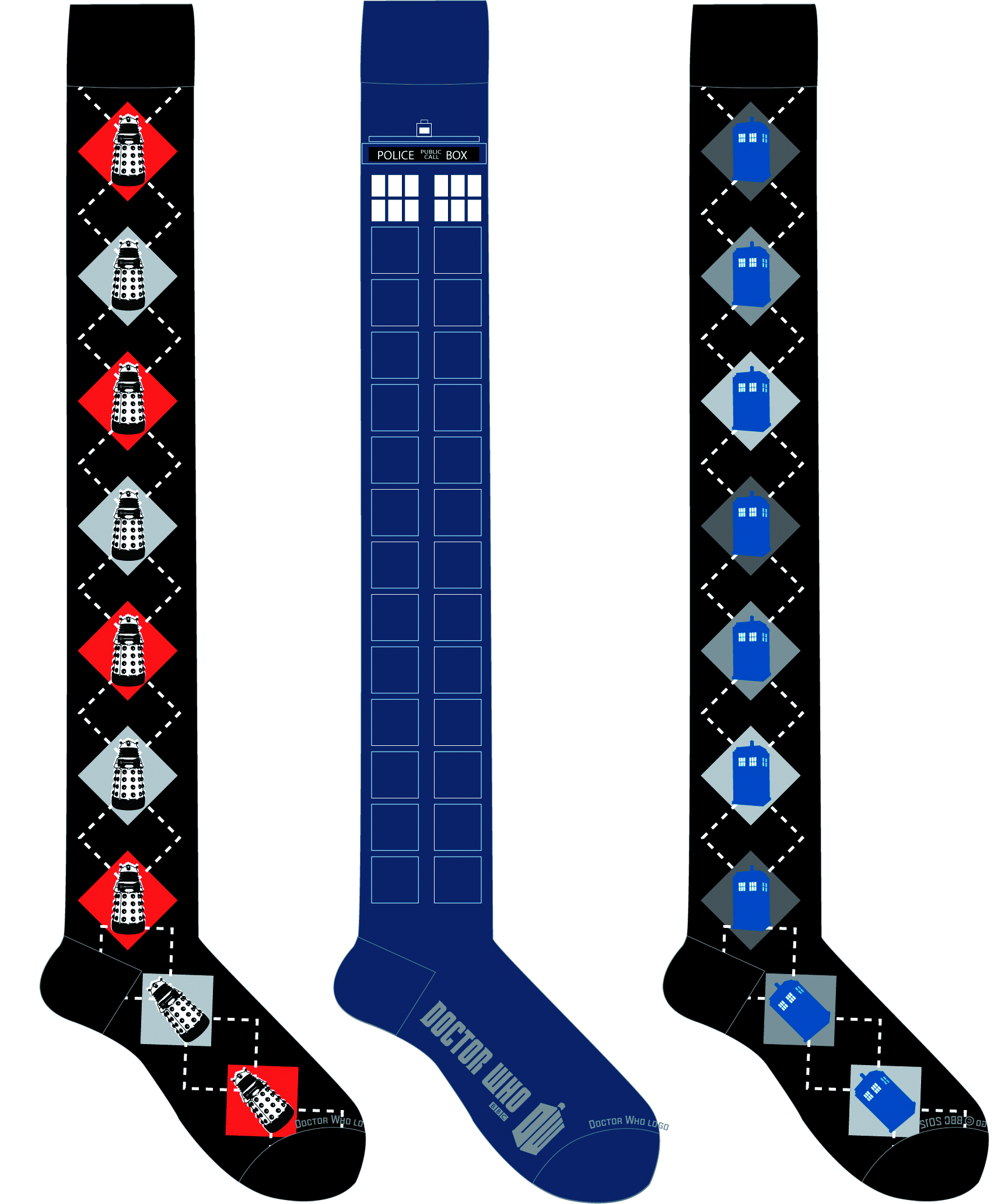 DOCTOR WHO DALEK ARGYLE OVER THE KNEE SOCKS