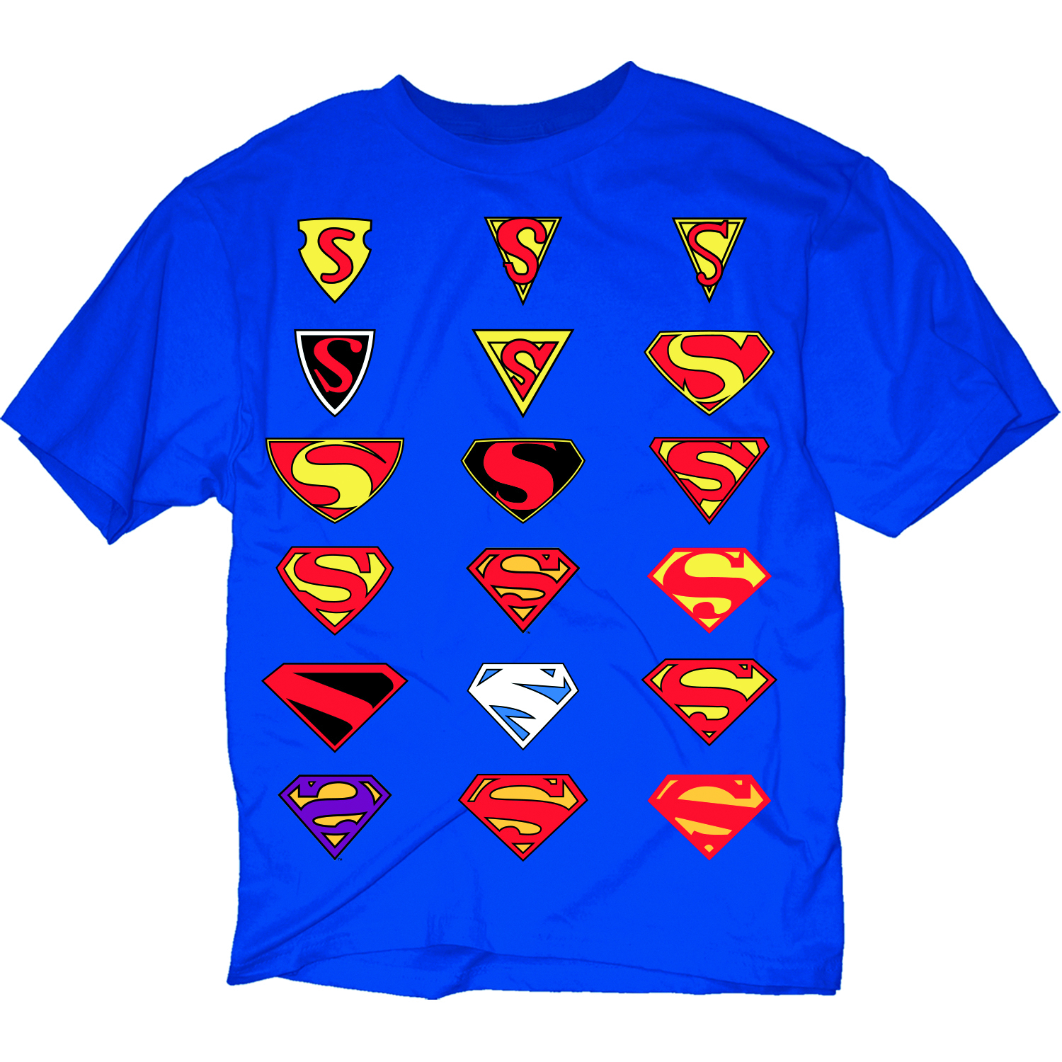EVOLUTION OF SUPERMAN SYMBOL BLK T/S MED