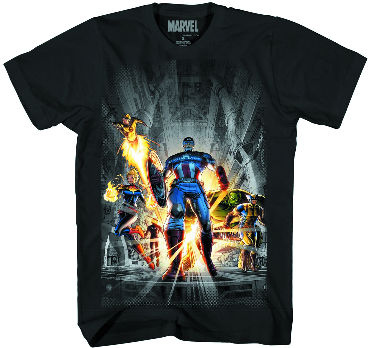 MARVEL HEROES BIG TEAM PX BLK T/S LG