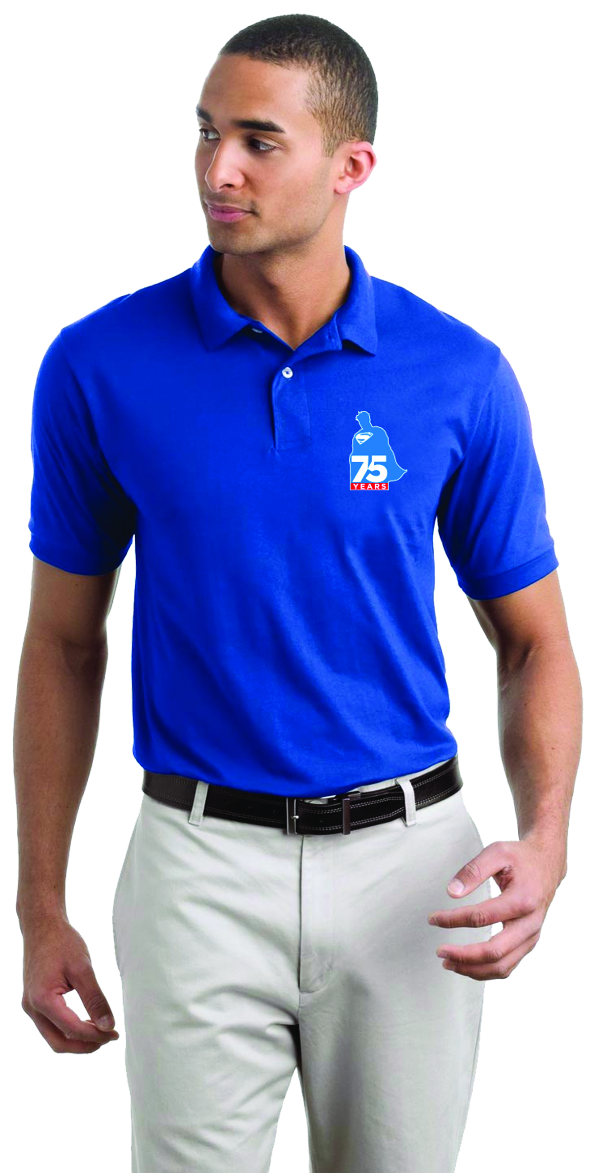 SUPERMAN 75TH ANNIVERSARY POLO T/S LG