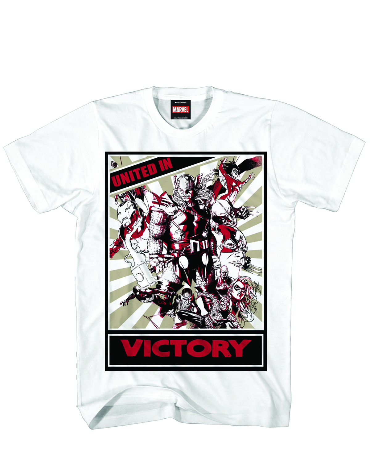 MARVEL HEROES TEAM VICTORY PX WHT T/S LG