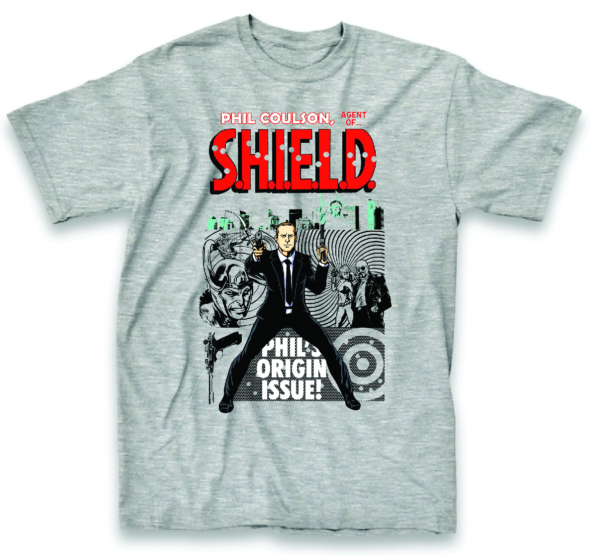 SHIELD AGENT PHIL COULSON HEATHER T/S LG