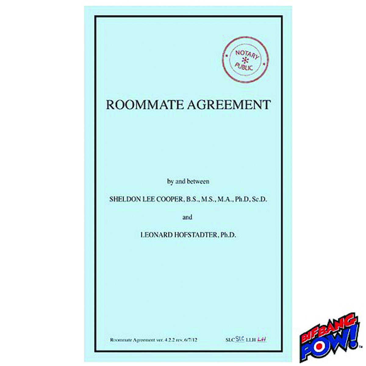 SEP BIG BANG THEORY ROOMMATE AGREEMENT JOURNAL