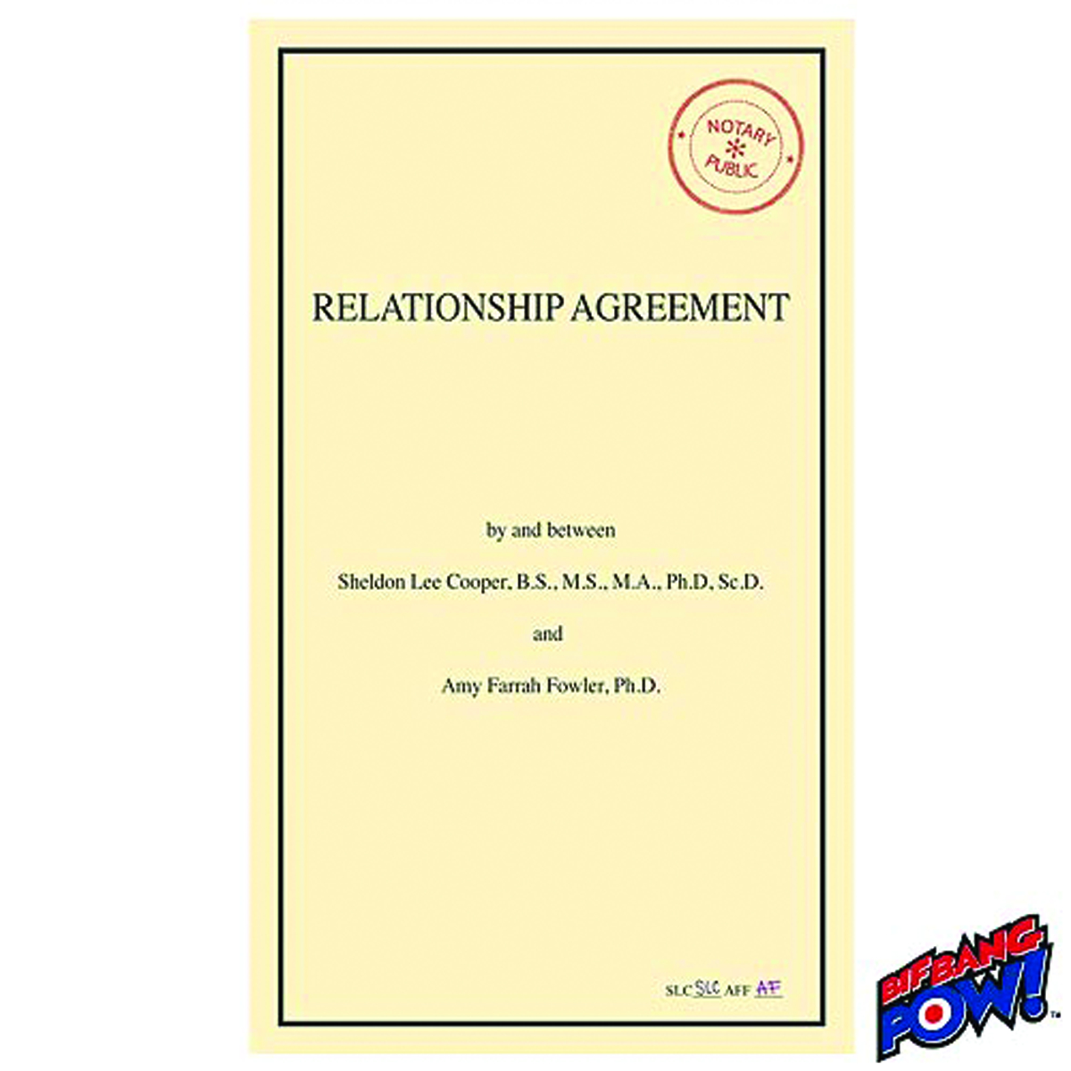 BIG BANG THEORY RELATIONSHIP AGREEMENT JOURNAL