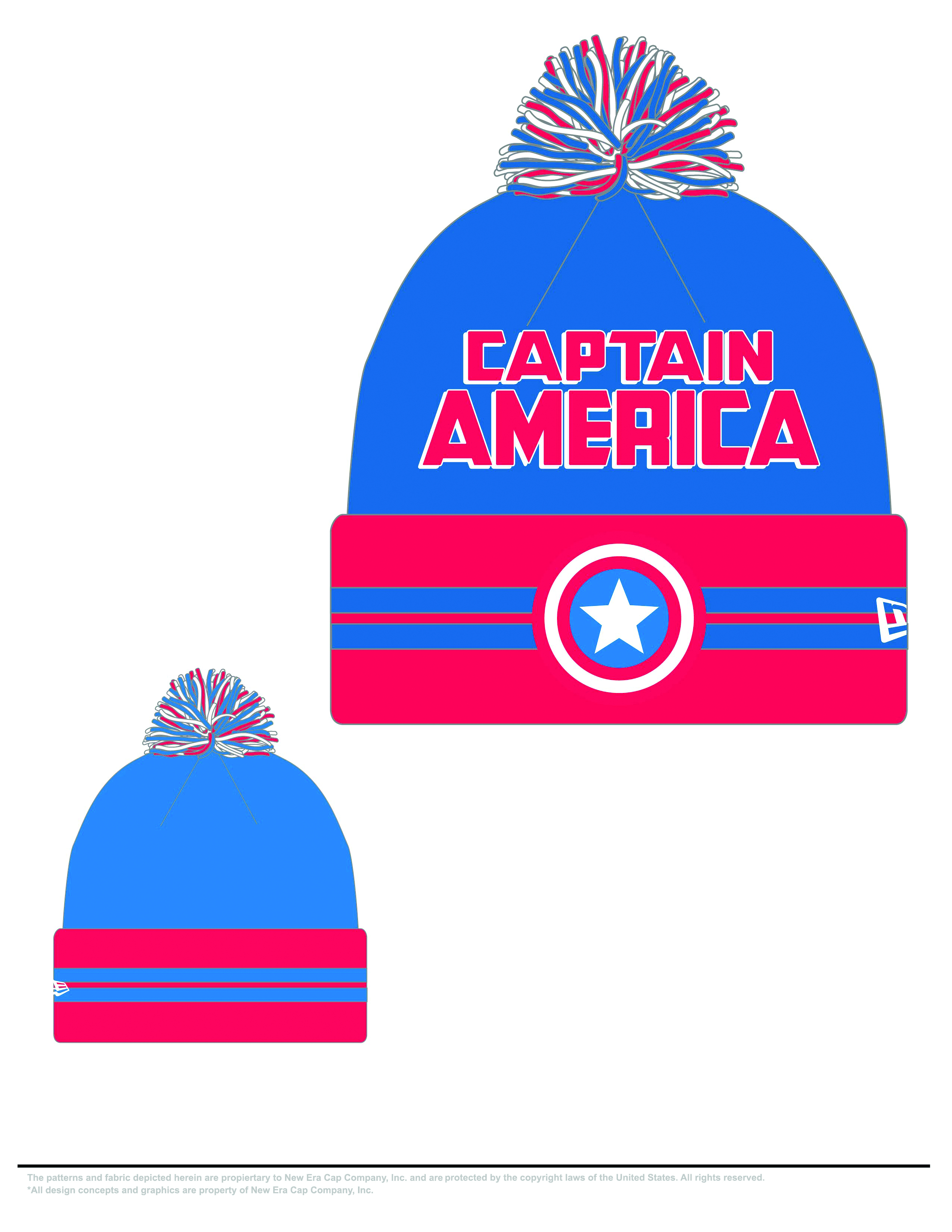 CAPTAIN AMERICA HERO WIDE POINT KNIT HAT