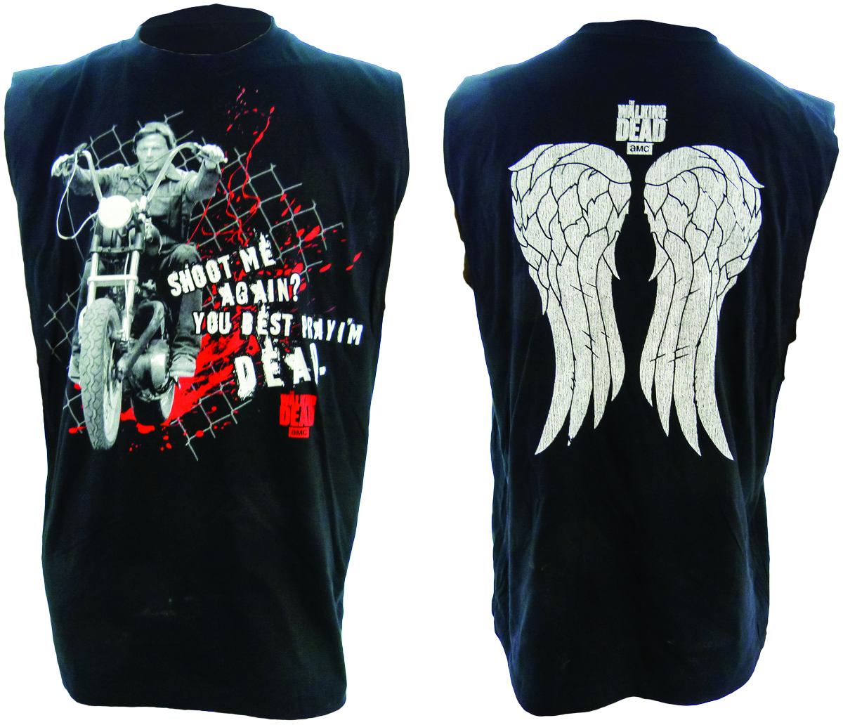 WALKING DEAD DARYL WINGS BLK SLVLESS T/S SM
