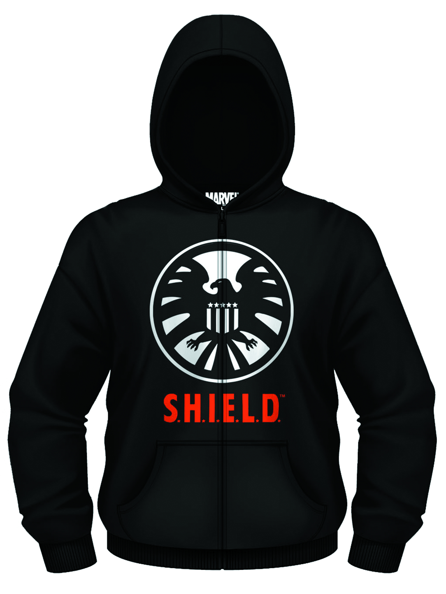MARVEL AGENT OF SHIELD PX BLK ZIP-UP HOODIE LG