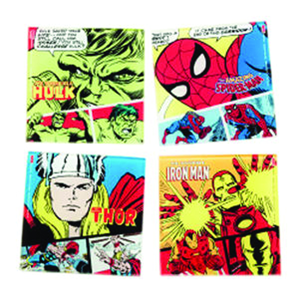MARVEL HEROES 4PC GLASS COASTER SET