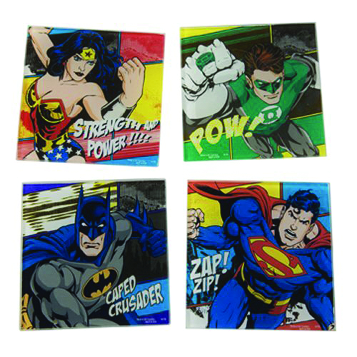 DC HEROES 4PC GLASS COASTER SET
