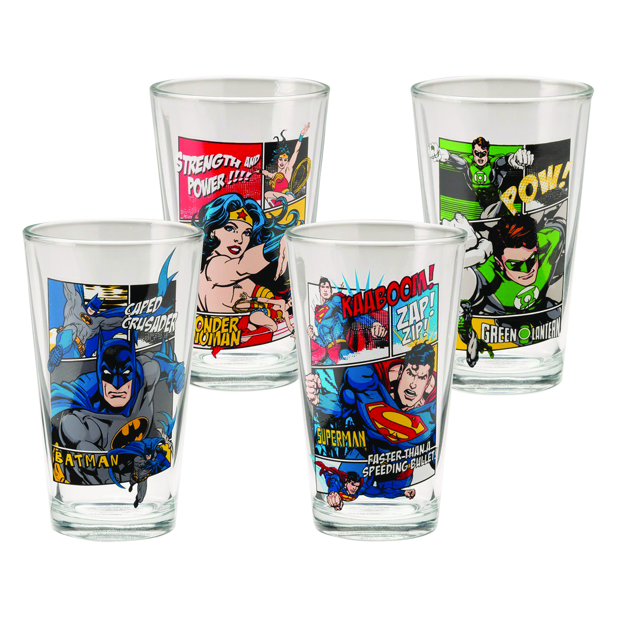 DC HEROES 4PC 16OZ GLASS SET