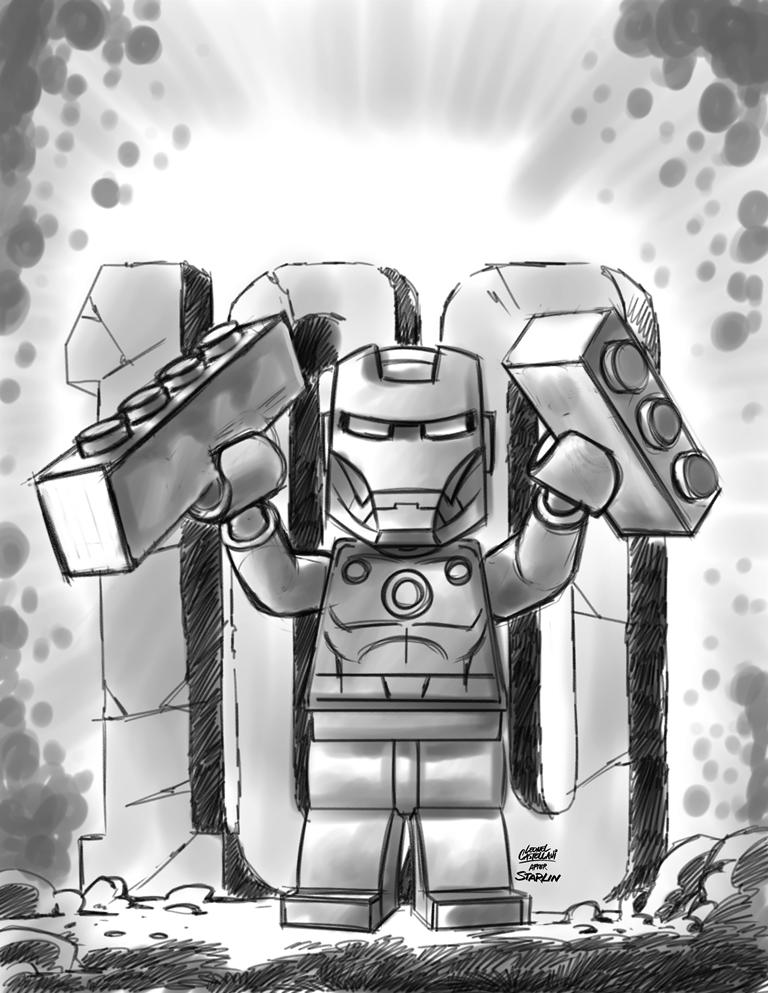 IRON MAN #17 CASTELLANI LEGO SKETCH VAR