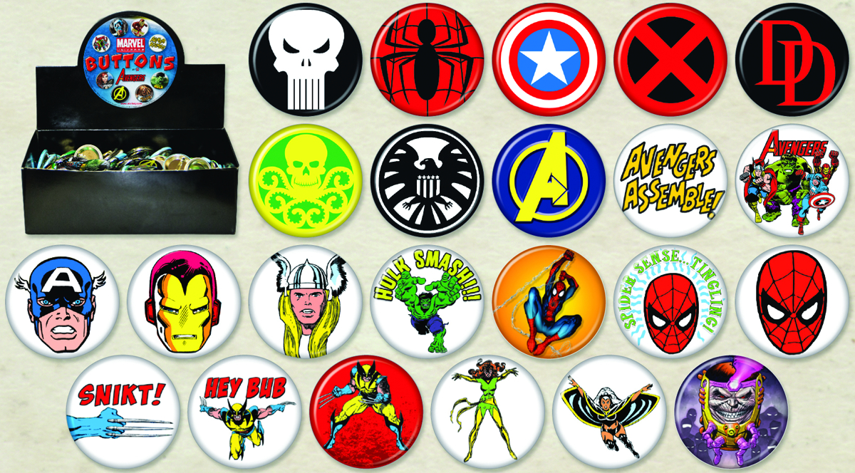 MARVEL HEROES 144PC BUTTON ASST