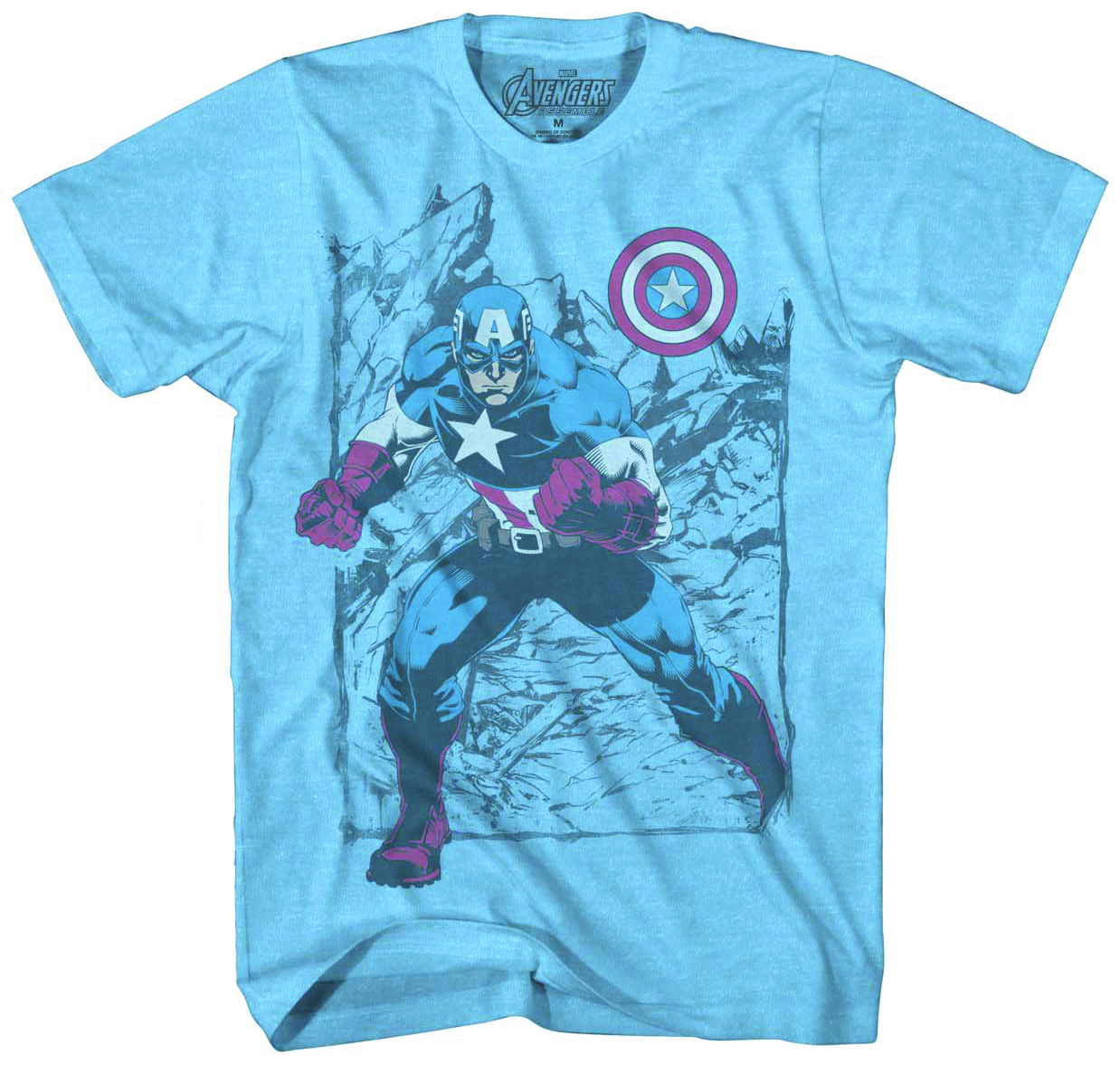 CAPTAIN AMERICA FADED GLORY PX BLUE T/S MED