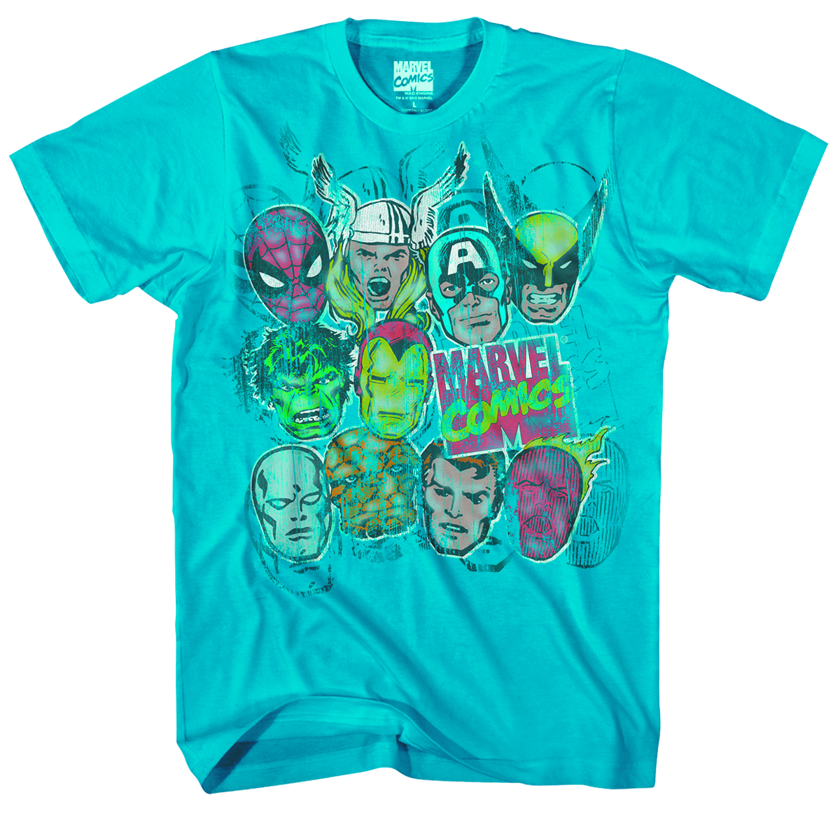 MARVEL HEROES ANGRY HEADS TURQUOISE T/S LG