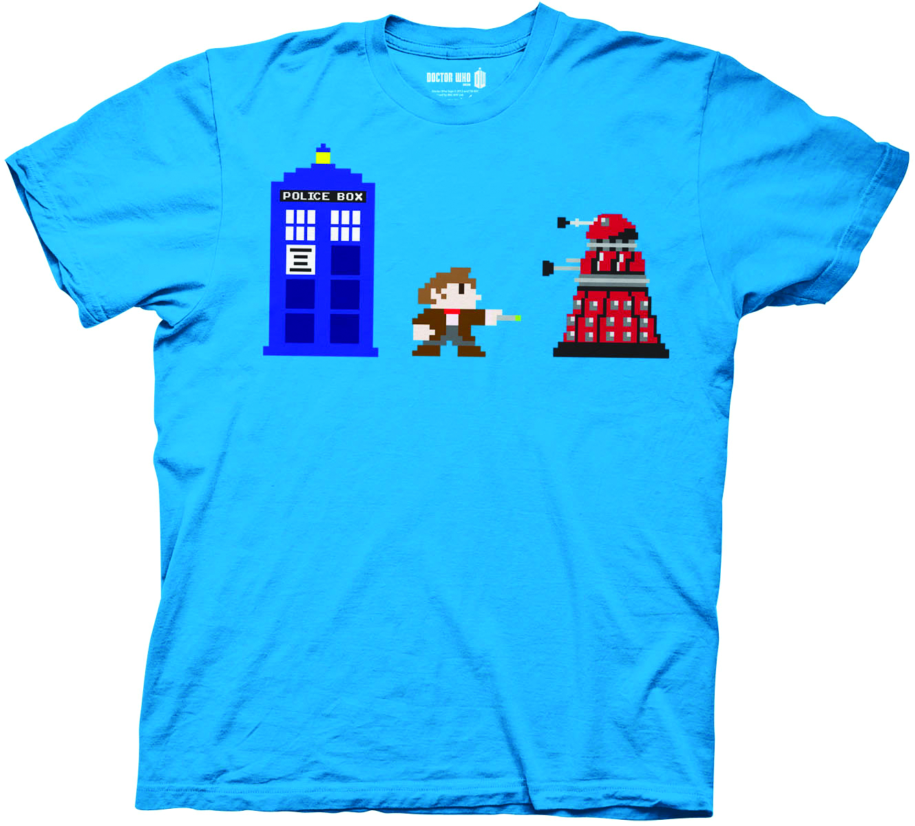 DOCTOR WHO 8 BIT PX TURQUOISE T/S LG
