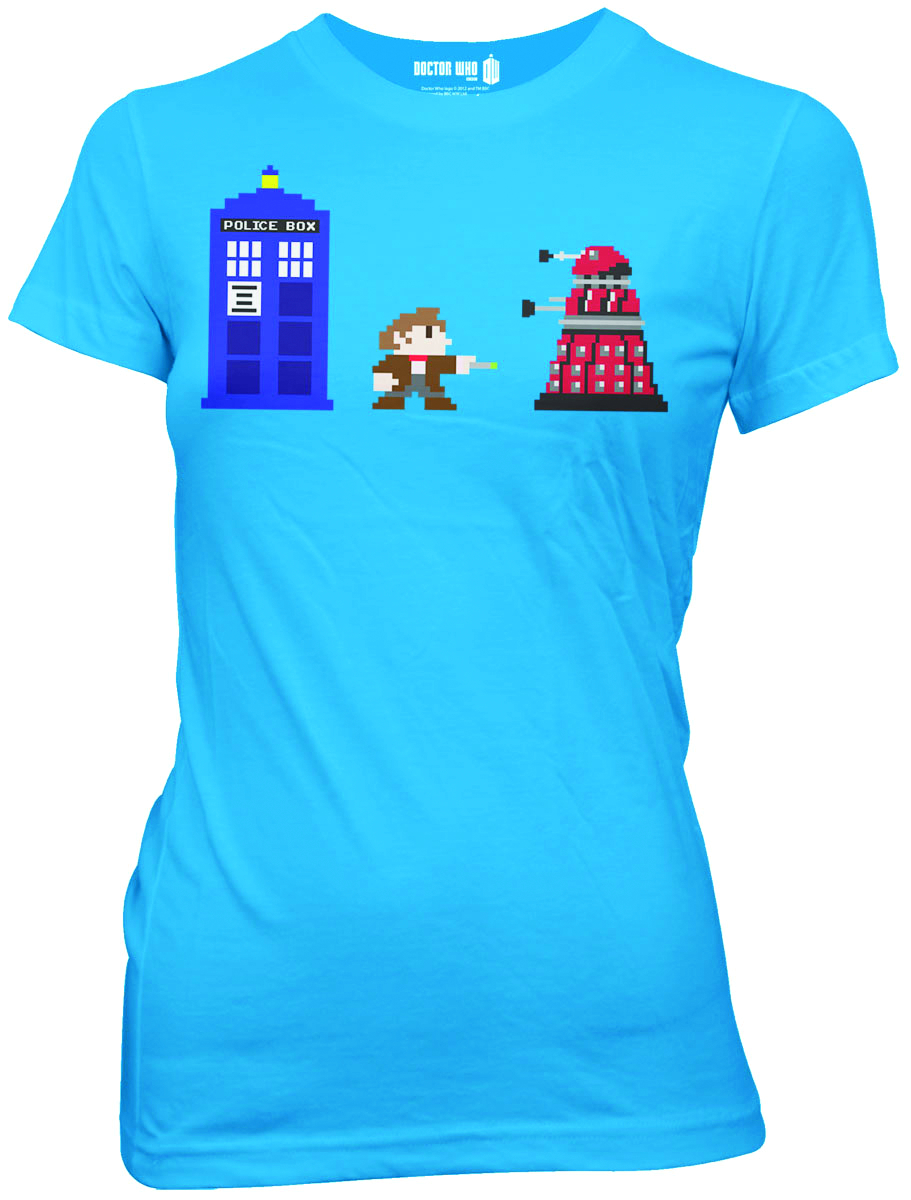 DOCTOR WHO 8 BIT PX TURQUOISE JRS T/S LG