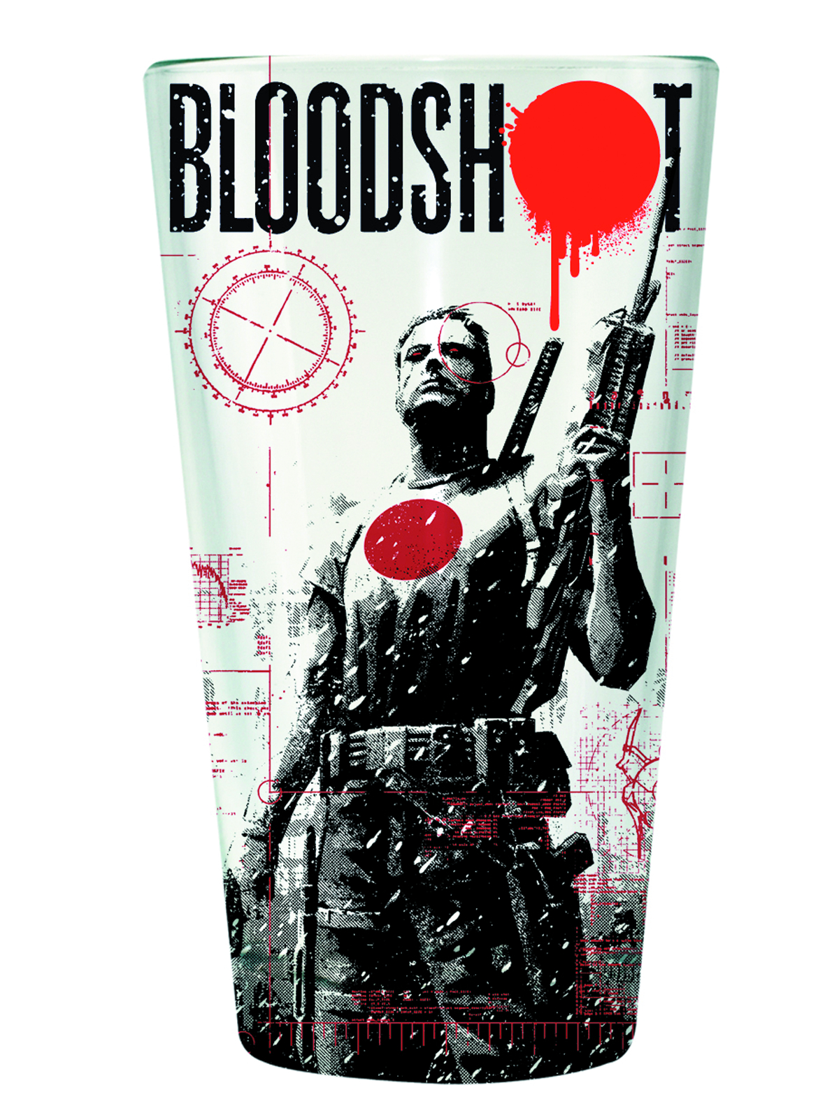 VALIANT BLOODSHOT CLEAR PINT GLASS