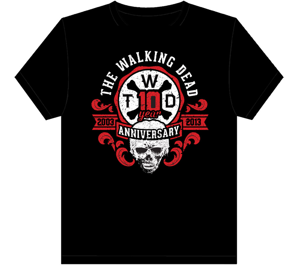 WALKING DEAD 10TH ANNIVERSARY BLACK T/S MED