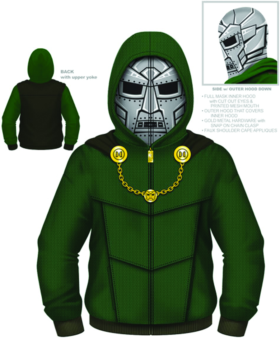 DOCTOR DOOM DOOM I AM COSTUME HOODIE XXL