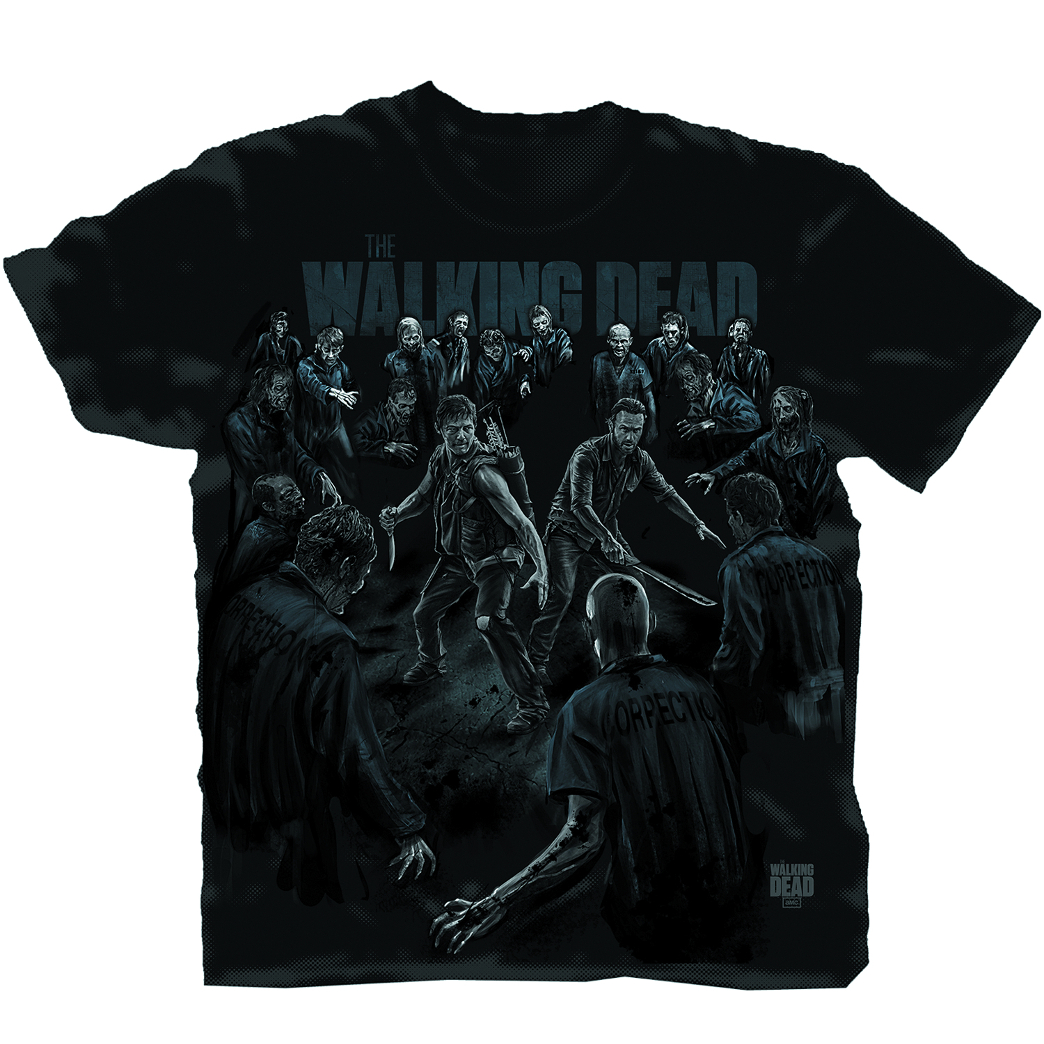 WALKING DEAD PROTECT THE GROUP BLK T/S XL