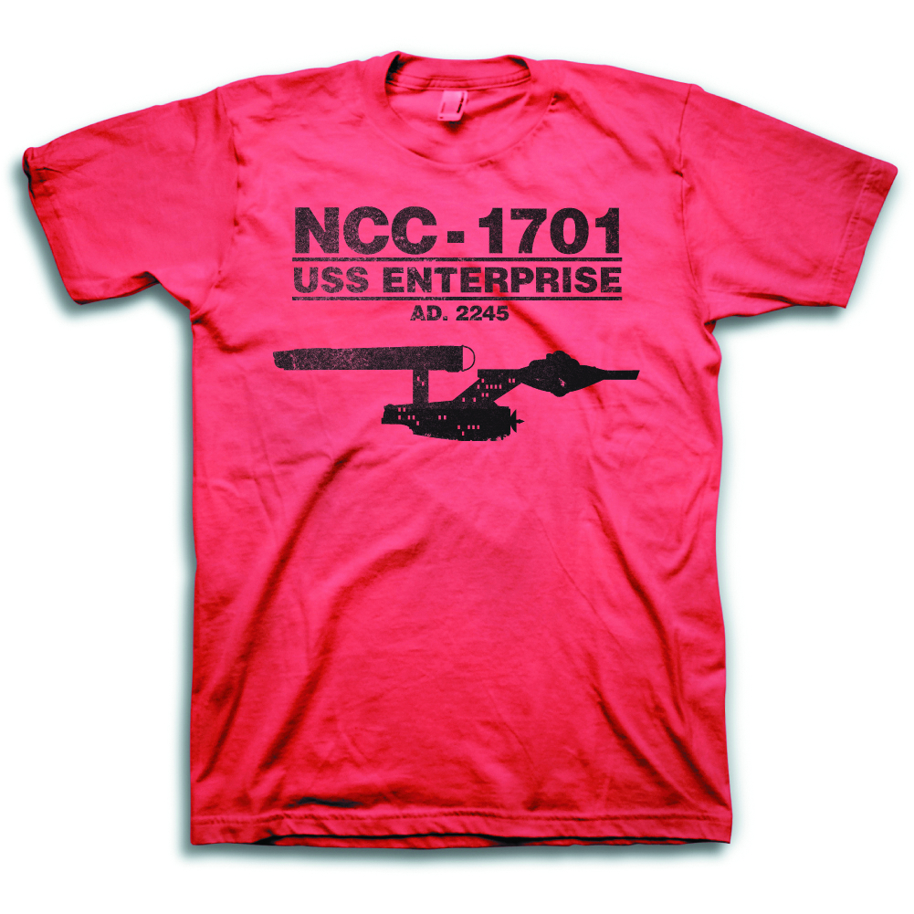 STAR TREK ENTERPRISE 2245 RED HEATHER T/S SM