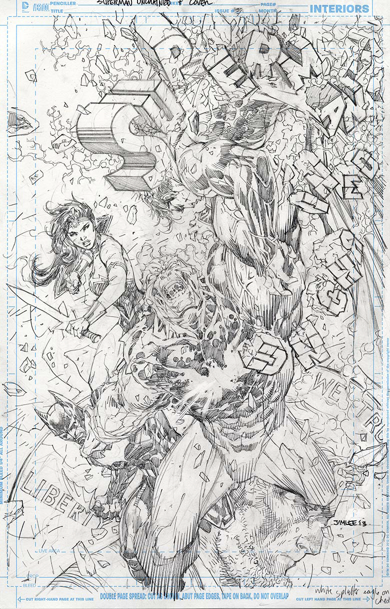 SUPERMAN UNCHAINED #7 JIM LEE BLACK & WHITE VAR ED