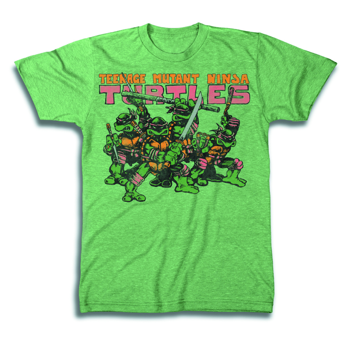 TMNT GROUP LOGO PX GREEN T/S MED