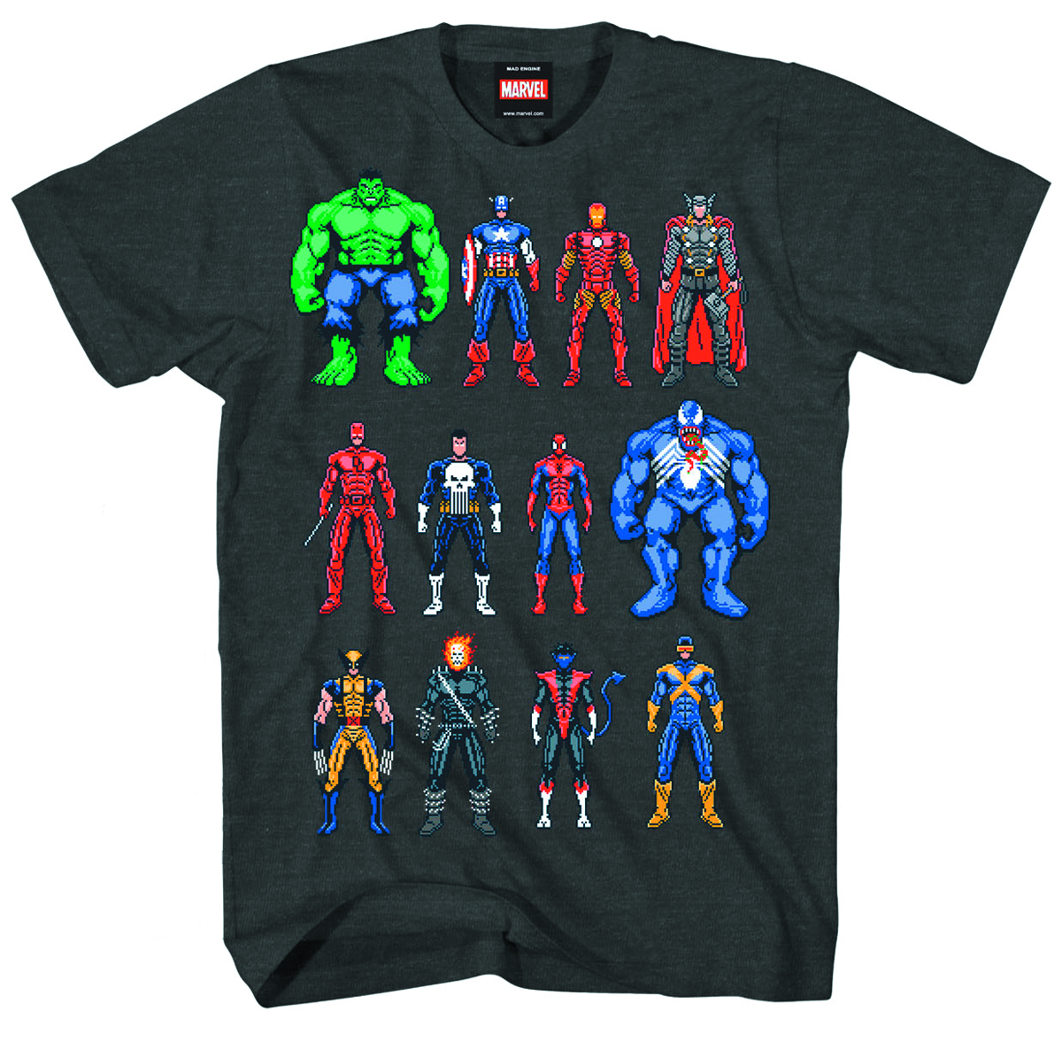 MARVEL HEROES TWELVE UP PX CHAR HTHR T/S XL