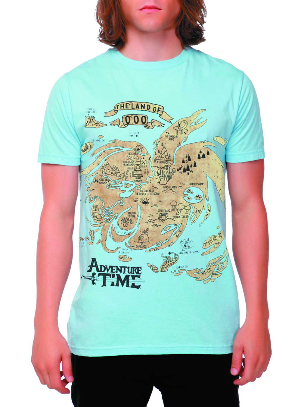 ADVENTURE TIME MAP OF OOO LT BLUE T/S XXL